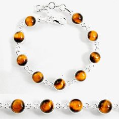 24.89cts natural brown tiger's eye 925 sterling silver tennis bracelet p96906