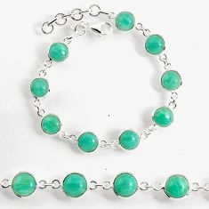 23.74cts natural green peruvian amazonite 925 silver tennis bracelet p96908