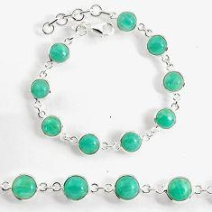 23.74cts natural green peruvian amazonite 925 silver tennis bracelet p96908