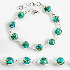 24.33cts blue copper turquoise 925 sterling silver tennis bracelet p96911