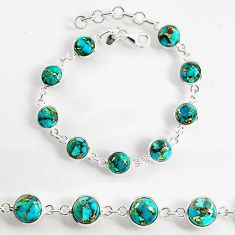 23.74cts blue copper turquoise 925 sterling silver tennis bracelet p96912