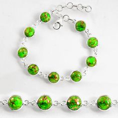 24.33cts green copper turquoise 925 sterling silver tennis bracelet p96913