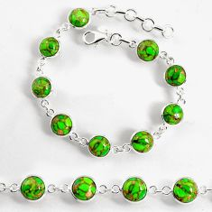 925 sterling silver 23.74cts green copper turquoise tennis bracelet p96914