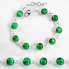 26.52cts natural malachite (pilot's stone) 925 silver tennis bracelet p96915