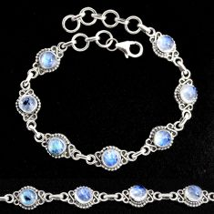 9.92cts natural rainbow moonstone 925 sterling silver tennis bracelet p96917