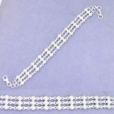 11.11cts natural white pearl 925 sterling silver tennis bracelet jewelry p9935