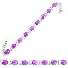 37.44cts natural purple phosphosiderite 925 silver tennis bracelet p9941
