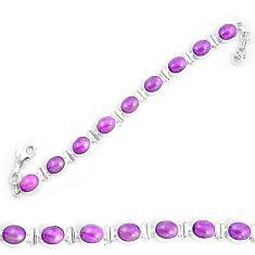 37.42cts natural purple phosphosiderite 925 silver tennis bracelet p9942