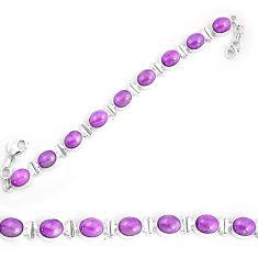37.47cts natural purple phosphosiderite 925 silver tennis bracelet p9943