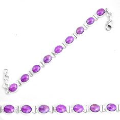 925 silver 37.16cts natural purple phosphosiderite tennis bracelet p9944