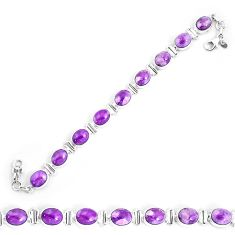 37.11cts natural purple phosphosiderite 925 silver tennis bracelet p9945