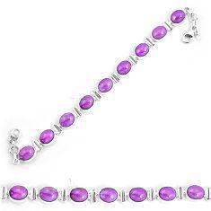 37.11cts natural purple phosphosiderite 925 silver tennis bracelet p9946
