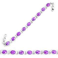 37.97cts natural purple phosphosiderite 925 silver tennis bracelet p9947