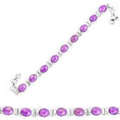 37.16cts natural purple phosphosiderite 925 silver tennis bracelet p9948