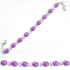 925 silver 37.16cts natural purple phosphosiderite tennis bracelet p9950