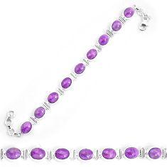 37.11cts natural purple phosphosiderite 925 silver tennis bracelet p9951