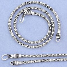 Indonesian bali style solid 925 sterling solid silver box link chain p3770