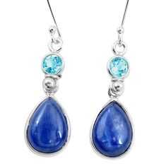 12.91cts natural blue kyanite topaz 925 sterling silver dangle earrings p10780