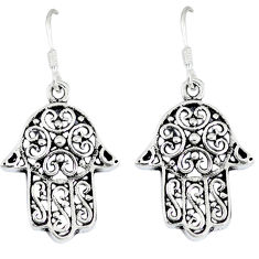 7.41gms indonesian bali style solid 925 silver hand of god hamsa earrings p1101