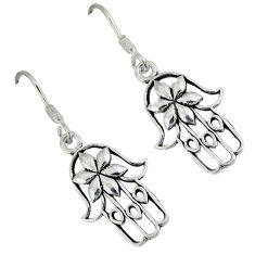2.84gms indonesian bali style solid 925 silver hand of god hamsa earrings p1107