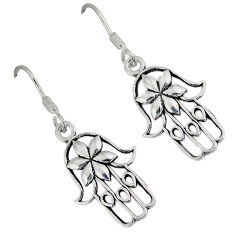 3.02gms indonesian bali style solid 925 silver hand of god hamsa earrings p1108