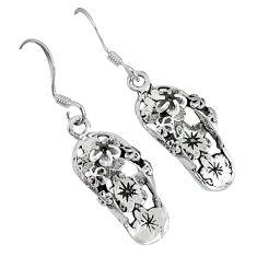 4.59gms bali style solid 925 sterling silver hawaiian sandals earrings p1111