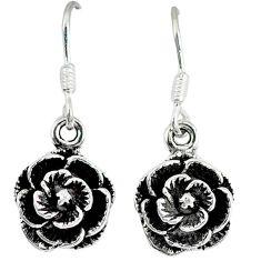 5.59gms indonesian bali style solid 925 sterling silver flower earrings p1126