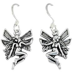 4.75gms indonesian bali style solid 925 silver angel wings fairy earrings p1133