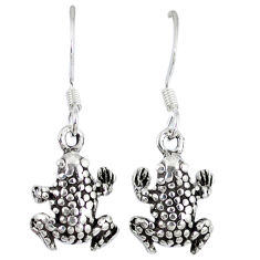 5.45gms indonesian bali style solid 925 sterling silver frog earrings p1136