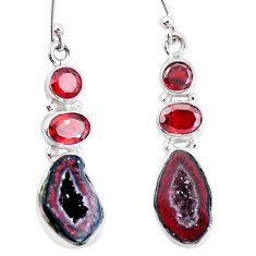 15.76cts natural brown geode druzy garnet 925 silver dangle earrings p11361