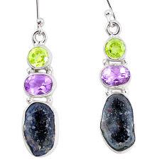 925 silver 13.69cts natural brown geode druzy amethyst peridot earrings p11364