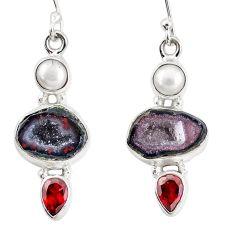 13.26cts natural brown geode druzy garnet pearl 925 silver earrings p11365