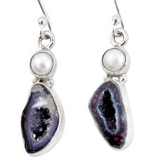 11.62cts natural brown geode druzy pearl 925 silver dangle earrings p11367