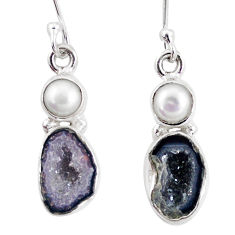 10.02cts natural brown geode druzy pearl 925 silver dangle earrings p11371