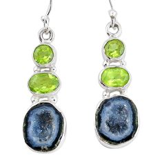 925 silver 14.39cts natural brown geode druzy green peridot earrings p11372