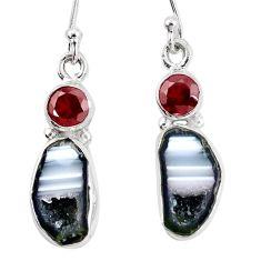 10.78cts natural brown geode druzy garnet 925 silver dangle earrings p11374