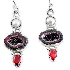 14.12cts natural brown geode druzy garnet pearl 925 silver earrings p11375