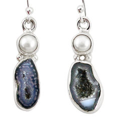 10.78cts natural brown geode druzy pearl 925 silver dangle earrings p11377