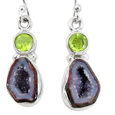 11.23cts natural brown geode druzy peridot 925 silver dangle earrings p11379