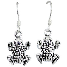 5.16gms indonesian bali style solid 925 sterling silver frog earrings p1138