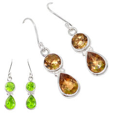 925 sterling silver 9.77cts green alexandrite (lab) earrings jewelry p11384