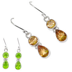 925 sterling silver 6.72cts green alexandrite (lab) earrings jewelry p11387