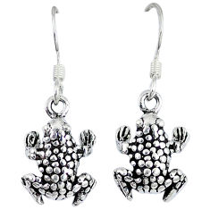 5.18gms indonesian bali style solid 925 sterling silver frog earrings p1139