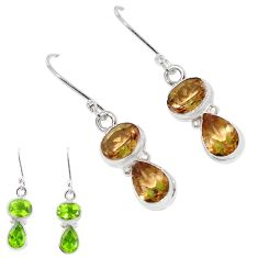 9.98cts green alexandrite (lab) 925 sterling silver earrings jewelry p11391