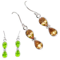 925 sterling silver 9.49cts green alexandrite (lab) earrings jewelry p11396