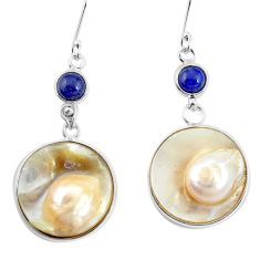 37.41cts natural white pearl lapis lazuli 925 sterling silver earrings p11434
