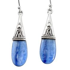 14.77cts natural blue kyanite 925 sterling silver earrings jewelry p11447