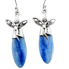 925 silver 18.89cts natural blue kyanite angel wing fairy earrings p11454