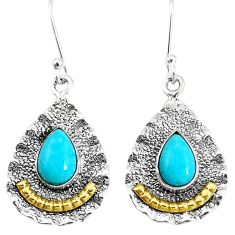 925 sil5.42cts victorian green arizona mohave turquoise two tone earrings p11530