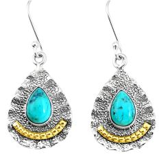 Victorian green arizona mohave turquoise 925 silver two tone earrings p11531